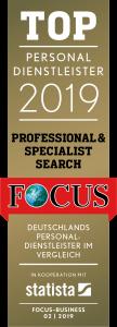 FCB Siegel Top Personal dienstleister Professional Specialist Search award logo 2019