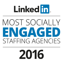 LinkedIn Most Socially Engaged Staffing Agencies award logo 2016